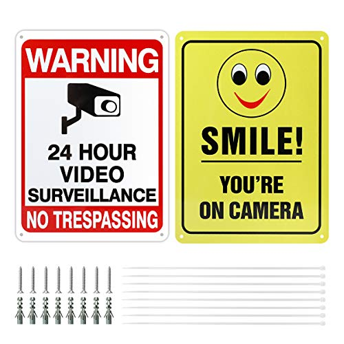 AIEVE Video Surveillance Sign, Smile You're On Camera Sign, No Trespassing Sign, 2 Pack 10'' x 7'' Aluminum UV Protected & Waterproof Warning Sign for Indoor Outdoor Home Business CCTV Security Camera