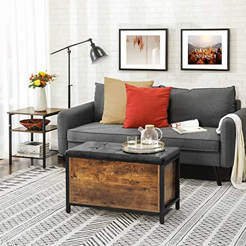 VASAGLE Sitzbank mit Stauraum, gepolsterte Truhe, 80 x 40 x 50 cm, Betttruhe, Flur, Schlafzimmer, Wohnzimmer, Metall, einfacher Aufbau, Industrie-Design, Kunstleder, vintagebraun-schwarz LSC80BX - 2