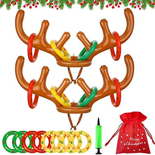 Lanci di Natale,Corna di Natale,Anello di renne,Gioco gonfiabile,Lancio della festa di Natale,Corna Renna,Cappello di renna,Gonfiabile di Natale,Gioco di renne per bambini,Gioco di lancio (A)
