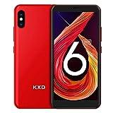 Smartphone ohne Vertrag KXD 6A Günstige 3G-Android-Smartphone 5,5-Zoll-Vollbild 8GB ROM (64GB Erweiterbar) Face ID 2500-mAh-Akku 5MP Kameras Dual SIM, Quad-Core, Global Version-Rot