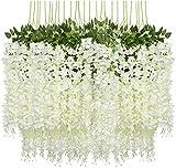 Pauwer 24 Stück Künstliche Blumen Fake Glyziniengirlande Blumengirlande Hängende Blauregen Seidenblumen für Heimdekoration Hochzeiten Hause Garten Party (weiß)