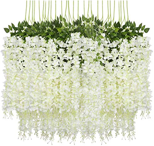 Pauwer 24 Pieces Artificial Flowers Fake Wisteria Garland Hanging Wisteria Silk Flowers for Home Decoration Weddings Home Garden Party