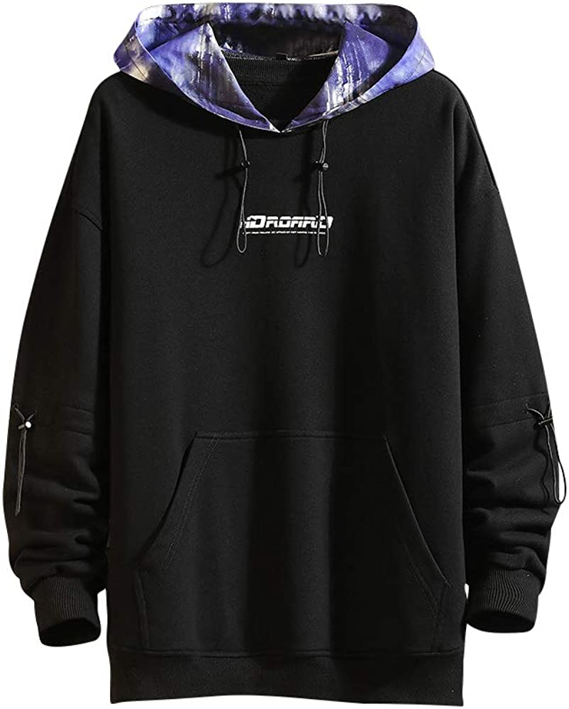 GURUNVANI Men's Casual Long Sleeve Tie-Dye Hoodie Color Block Pullover Sweatshirt