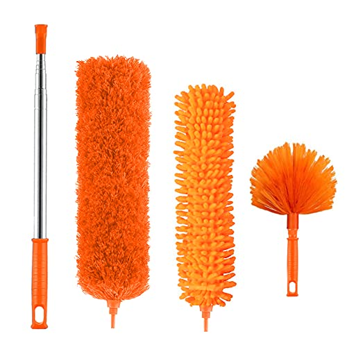 Microfiber Duster, Feather Duster Kit with 100 Inch Telescoping Extension Pole, Reusable Bendable Dusters, Washable Lightweight Dusters for Ceiling Fan