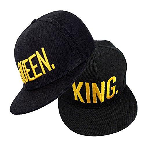 EQLEF Snapback Paare Mützen King Queen Cap Baseballmütze Für Liebhaber Paare Bestickte Rapper Cap - 2 Stück(Typ 2)