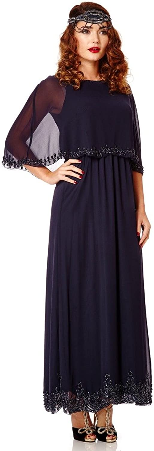 Carolyn Vintage Inspired Maxi Cape Dress in Navy bluee