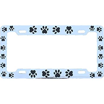 Pet Dog Cat Chrome Plated With Black Paw DMSE Animal Paws License Plate Frame For Your Car Automobile Easy Installation Durable Universal Fit