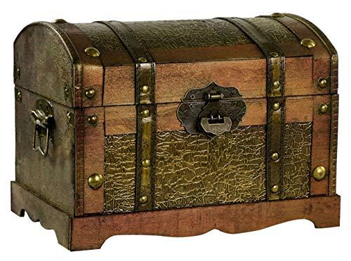 Grinscard Große Schatztruhe gewölbter Deckel - ca. 30x20x22cm, Braun | Schatzkiste als Piratentruhe | Geschenk & Deko
