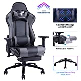 KILLABEE Big and Tall 350lb Massage Gaming Chair Metal Base - Adjustable Massage Lumbar Cushion,...