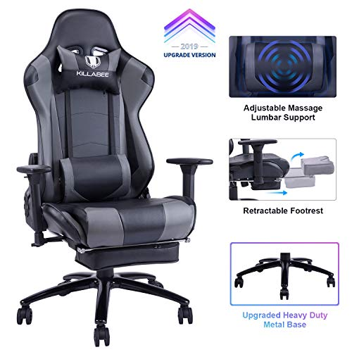 KILLABEE Big and Tall 350lb Massage Gaming Chair Metal Base - Adjustable...