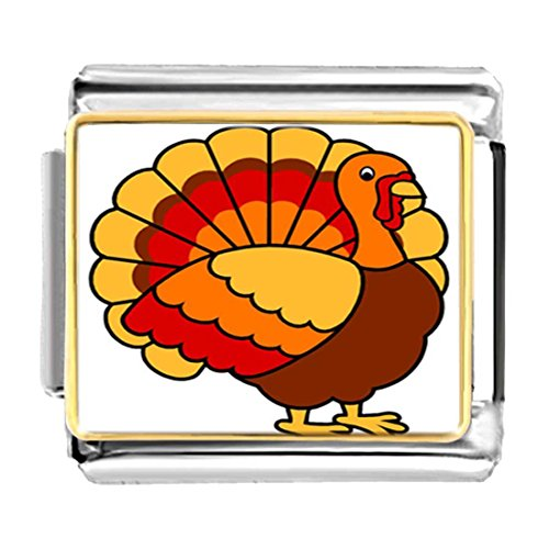 GiftJewelryShop Gold Plated beautiful Thanksgiving turkey Bracelet Link Photo Italian Charms