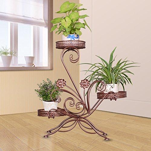 Porte-fleurs Support de fleur créative de plusieurs étages en fer forgé européen, Support de fleur de trois araignées de radis vert, Support de fleur d'intérieur multifonctionnel (Choix multicolore) Support de fleurs ( Couleur : Bronze )