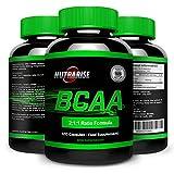 BCAA, los Mejore Suplementos de Aminoácidos de Cadena Ramificados para la pérdida de peso, Óptima Nutrición para la Musculación y Rendimiento, con Glutamina para Antes del Entrenamiento y para la Recuperación, Producido en UK – 2:1:1 Ratio de la Fórmula, 120 Cápsulas
