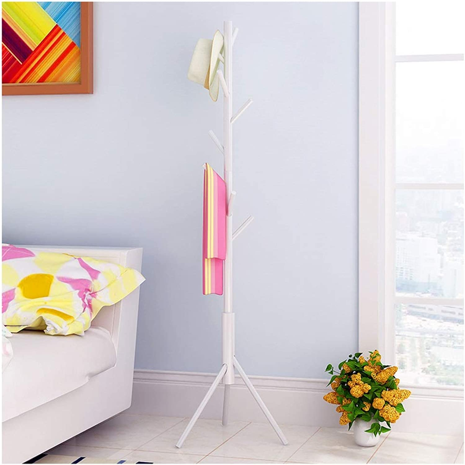 Standing Coat Racks Standing Coat Rack Clothes Hooks Heavy Duty redating Coat Stand Hanger Hall Umbrella Holder Hooks Office Entryway -0223 (color   White)