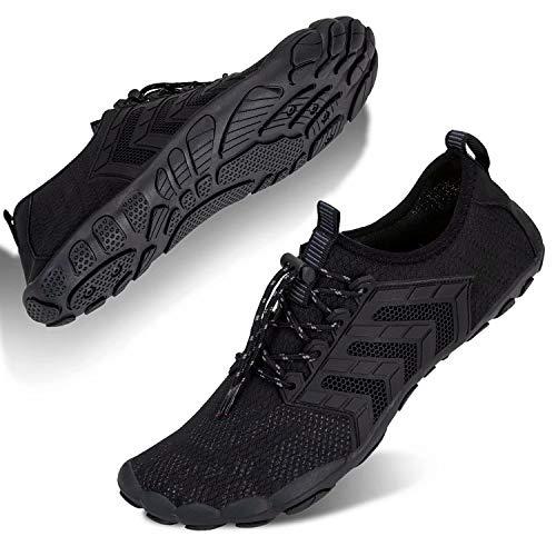 Zapatos de agua para hombre y mujer, zapatos de playa descalzos para nadar y de secado rápido, zapatos de traje de baño para piscina, natación, surf, fitness, senderismo, color Negro, talla 42 2/3 EU