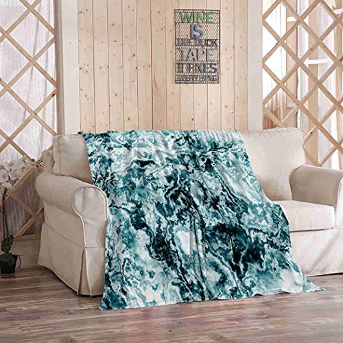 Kuidf Vintage Throw Blanket Green Marble Flannel Bedding Blankets Luxury Oversized for Couch Bed or Sofa 60x80 Inches