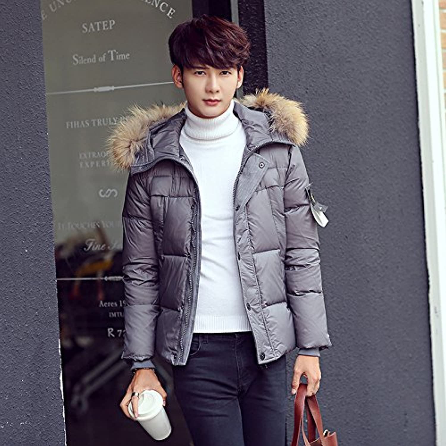 Lsm-Coat Men's Winter Stand Collar Warm Hooded Quilted Padded Puffer Jacket Outwear Coat