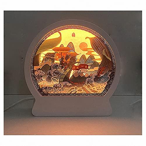 QGGESY Luz de Noche Artesanal en 3D, Origami del Festival del Barco del dragón de DIY, Decoración de Sala de Estar y Dormitorio Regalos para niños, Amigos y Familiares,F