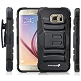 Fosmon Galaxy S6 Case (Sturdy) Heavy Duty Dual Layer Hybrid Stand Case with Shell Holster Combo for Samsung Galaxy S6 2015 (Black)