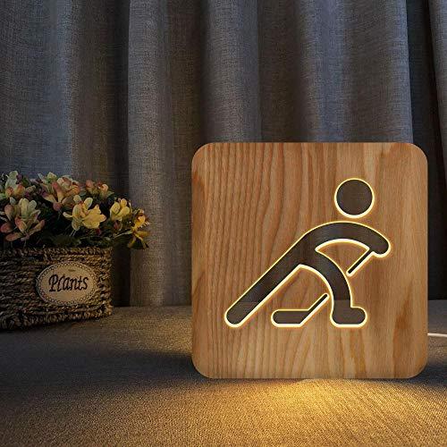 3D trä led nattlampa usb ihåligt snidade bord skrivbord sänglampa varm vit spelar ishockey modellering barn säng sänggavel för hem sovrum dekoration