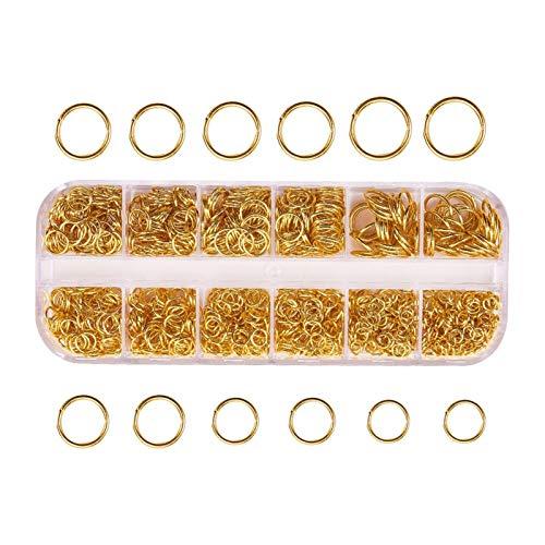 Anillos de salto abiertos, 1030 anillos abiertos de 4 a 10 mm de diámetro, multicolor para hacer joyas, collares y anillos de conexión para collar – dorado