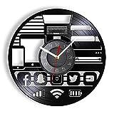 Geek Gadget Wall Clock Hecho de Real Vinyl Record Internet Social Network App Icons grabado Retro Wall Clock Unique Geeksgift Regalo
