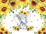 8x6 pies girasol elefante bebé ducha telón de fondo de fiesta de cumpleaños Banner fotografía fondo para bebé recién nacido pastel mesa decoración W-5789