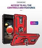 BestST Custodia LG Aristo 2/LG Aristo 3 Cover, 360° Girevole Regolabile Ring Armor Bumper TPU Case Magnetica Supporto Smartphone Silicone Custodie Heavy Duty Antiurto per LG Aristo 2/3 Case, Rosso