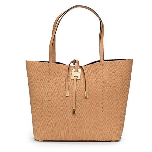 Michael Kors Collection Miranda Peanut Tan Large East West Tote Snake Leather Bag Handbag New
