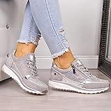 EVR Zapatillas Deportivas de Mujer Moda Cordones Zapatillas Deportivas Gimnasio Zapatos Running Deportivos Fitness Correr Casual Ligero Comodos Respirable,Gris,42