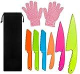 LLGL - Juego de cuchillos de cocina de plástico para niños con guantes resistentes a cortes (desde 6 años a 12 años)