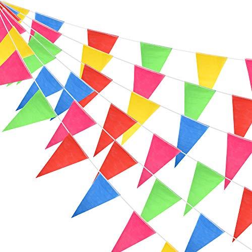 FEPITO 374 Pieds 300 Drapeaux Multicolores banderoles bannière Drapeaux Double Face en Nylon Fanion bannières pour Mariage fête d'anniversaire Jardin décoration de la Maison