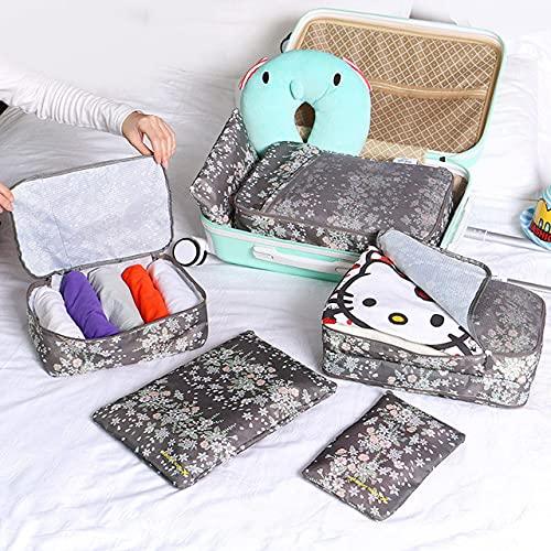 xingguang Bolsa de almacenamiento de lavado 6 piezas de viaje portátil bolsa de almacenamiento Set moda impermeable multifunción ropa zapatos cosméticos Categorías Organizador bolsa (color: gris)