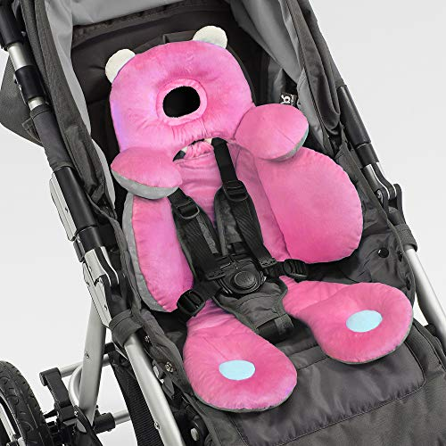 BENBAT Total Body Baby Support Pillow - Stroller Or Car Seat Baby Body Support Pillow White/Pink - Baby Head Support Pillow And Body Support For Babies - Newborn Gifts And Gifts For Baby Shower (Pink)