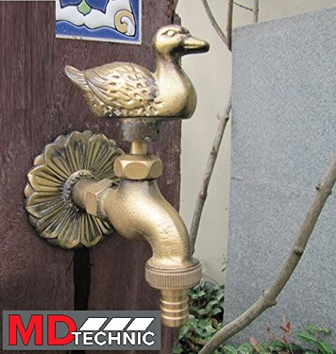 Nostalgischer Wasserhahn mit Entenmotiv für den Außenbereich Garten, Auslaufhahn, Antik