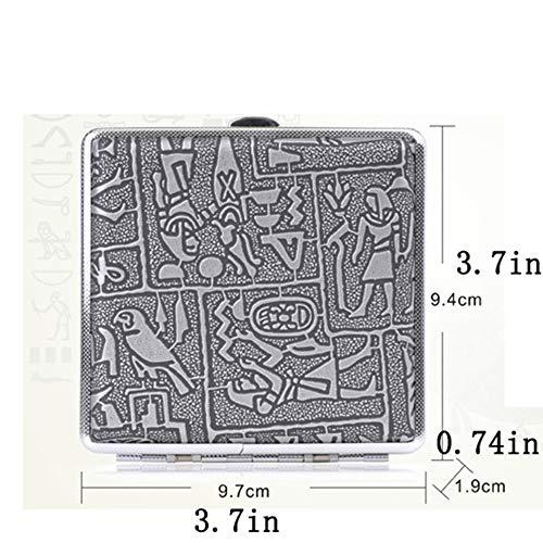 YCX Caja Retro y Cigarrillos Preciosa de los Hombres, Hecho de Metal y Cuero para 20 Cigarrillos Elegante y práctico de Oro Egipto,Gris