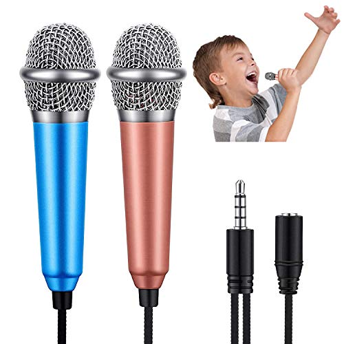 Mini Microphone - MLM Mini Karaoke Vocal and Recording Microphone Portable for iPhone ipad Laptop Android Smartphone, Tiny Microphone Ideal for Kids (Blue & Rose Gold)