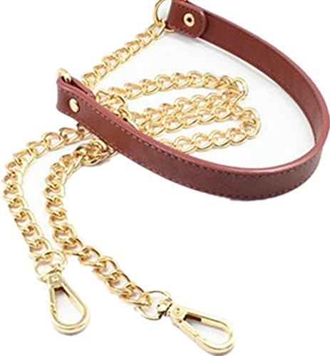 """120cm/47.2"""" Replacement Chain & PU Synthetic Leather Shoulder Crossbody Straps Bags/Handbag/Handle/Purse (Brown)"""