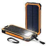 LPsweet Solar Power Bank, USB Double Batterie Externe, Batterie De Sauvegarde Externe Portable Étanche pour Iphone, Ipad, Mac, Samsung, Huawei Et Plus,Orange,6000MAH