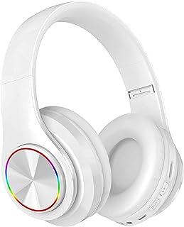 Yostyle Audífonos Inalámbricos de Diadema, Audífonos Inalámbricos Bluetooth con Entrada de Audio de 3.5 mm, Auriculares para Juegos Micrófono con Reductor de Ruido Integrado, Luces de Respiración LED de Siete Colores, Ideal para PC o Teléfono Inteligente (Blanco)
