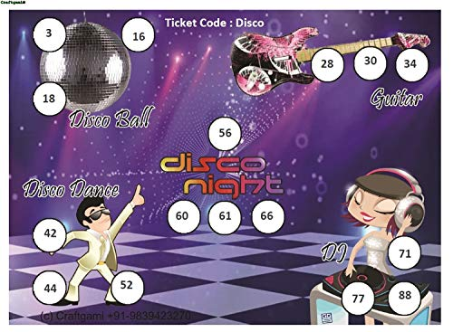 Craftgami - Disco Night Theme Tambola Tickets - Housie Tickets (24 Tickets)