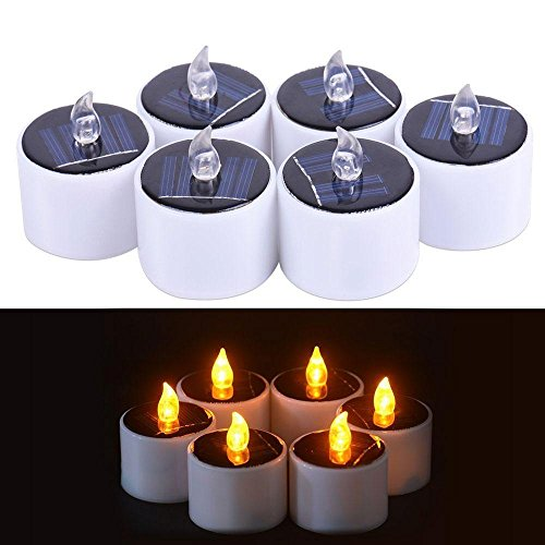 KOBWA 6 pz LED Candele Romantico Impermeabile Senso Luce Solare Candela tealight per Camping Traveling Outdoor Home Party Cena Decorazione Style B
