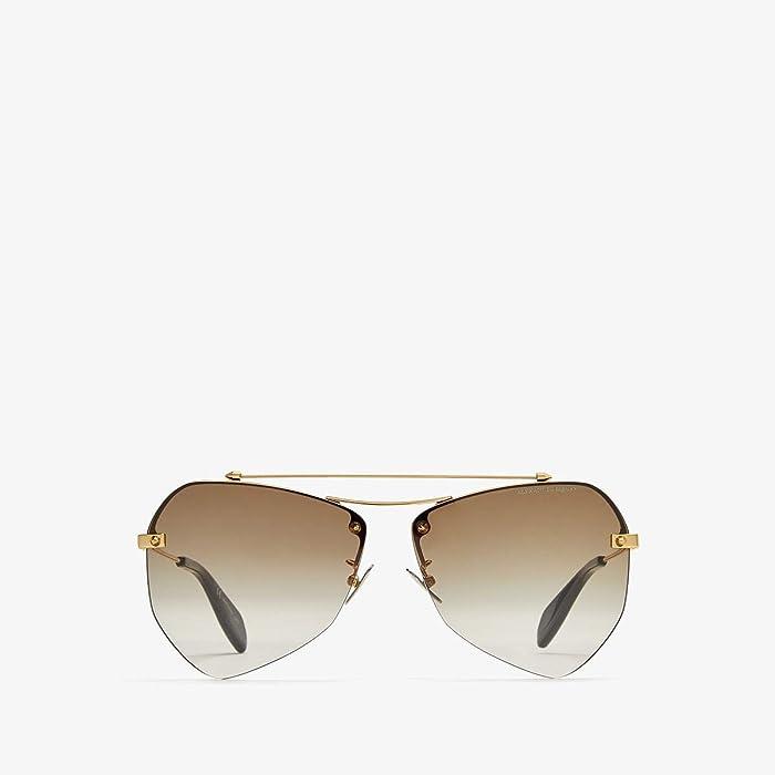 Alexander McQueen  AM0121SA (Gold/Brown) Fashion Sunglasses
