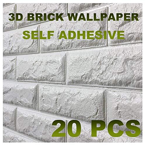 10 PCS 3D bianchi adesivi di muro di mattoni di imitazione,DIY carta da parati decorativa autoadesiva impermeabile 60x60cm