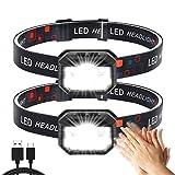 Stirnlampe 2 Stück,Superheller Bewegungs Sensor1500 Lumens 11Modi Kopflampe,USB Wiederaufladbare Wasserdicht Leichtgewichts LED Stirnleuchte Perfekt zum Laufen, Wandern, Camping,Radfahren,Angeln