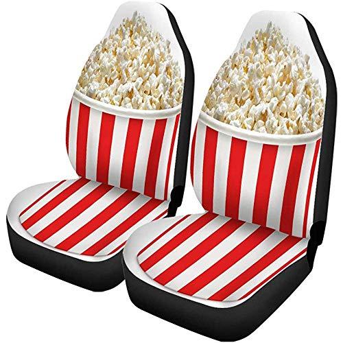 Autostoelhoezen Popcorn Pop Maïs in Rood en Wit Gestreept Karton Set van 2 Auto Protectors Auto voor Auto Truck SUV