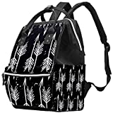 Bolsa de pañales Mochila Mommy Bag Gran Capacidad ImpermeableFlechas Blancas Fondo Negro
