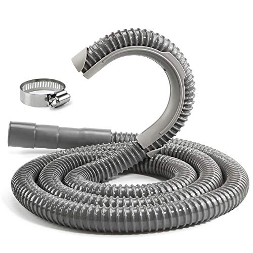 Universal Washing Machine Drain Hose with Clamp[8ft], Industrial Grade Polypropylene Corrugated and Flexible Washer Hoses(10-Years Warranty)