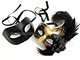 Couples Black Gold Masquerade Ball Mask Pair Feather Mardi Gras Party Valentines Gift for Her (Solid Black Gold)