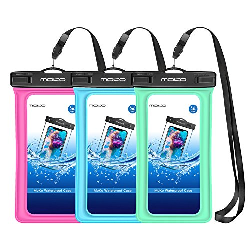 MoKo Floating Waterproof Phone Pouch [3 Pack], Floatable Phone Case Dry Bag with Lanyard Armband Compatible with iPhone 11/11 Pro, X/Xs/Xr/Xs Max, 8/7 Plus, Samsung S10/S9/S8 Plus, S10e, A10E, Note 10